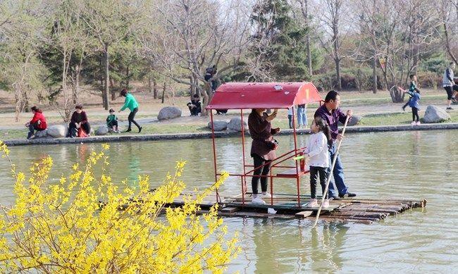 春暖花开,游人如织,河南安阳易园,划船踏青亲子游园好去处
