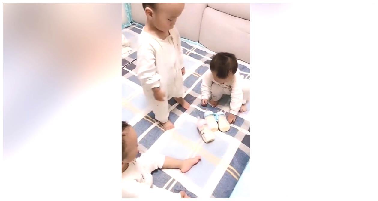 三胞胎每次喝奶,妹妹都把哥哥安排好了才开始喝,感情真好!