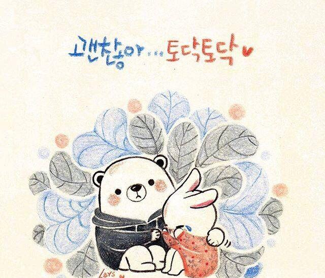 彩铅手绘,韩系小插画,兔子和白熊的幸福生活