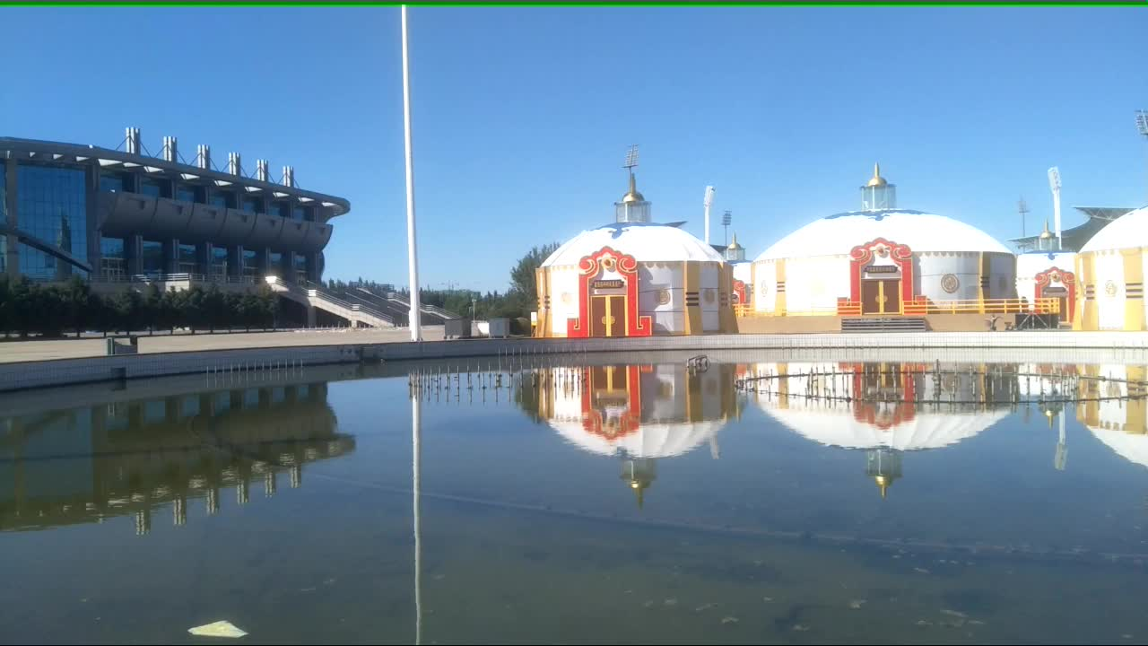 通辽市奥体中心体育馆和蒙古包,原创视频