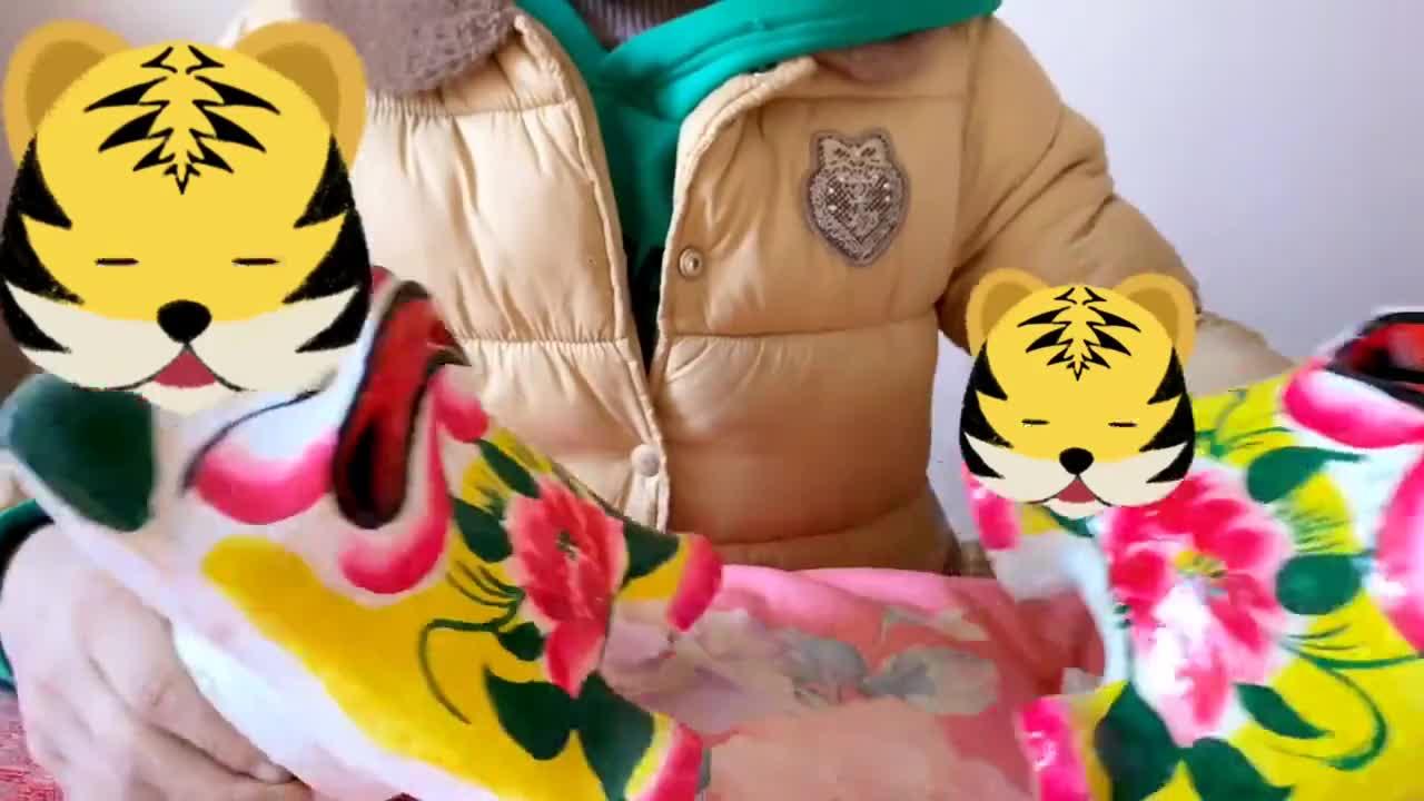 小宝贝两只集会上买来的老虎玩打架游戏,结果缺弄掉鼻子