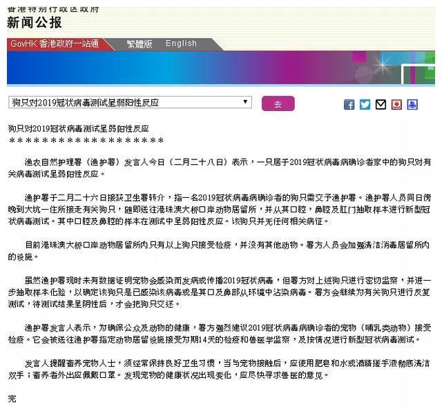 香港确诊患者宠物狗,测出弱阳性