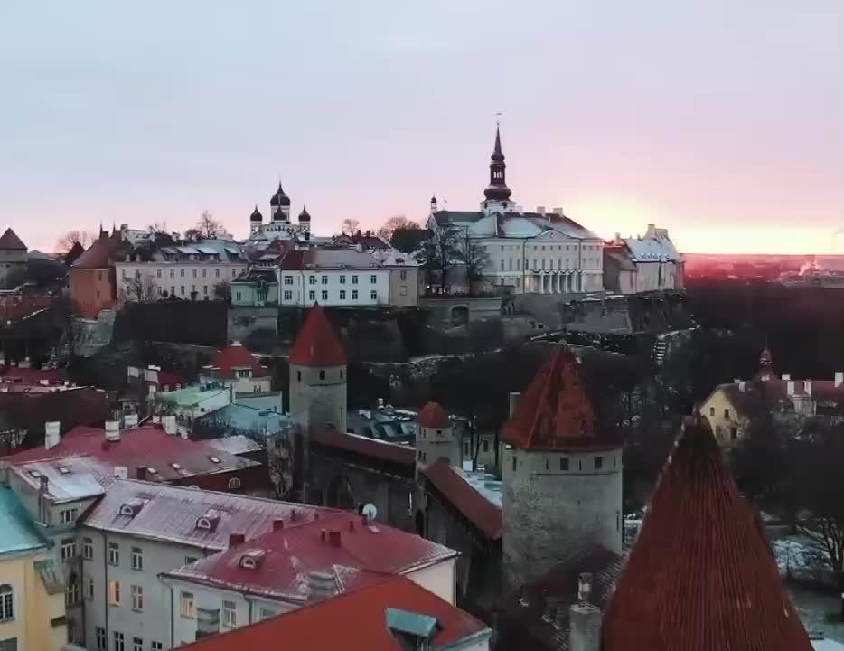 爱沙尼亚红瓦绿地绚丽多彩的建筑一座古老而浪漫的城市