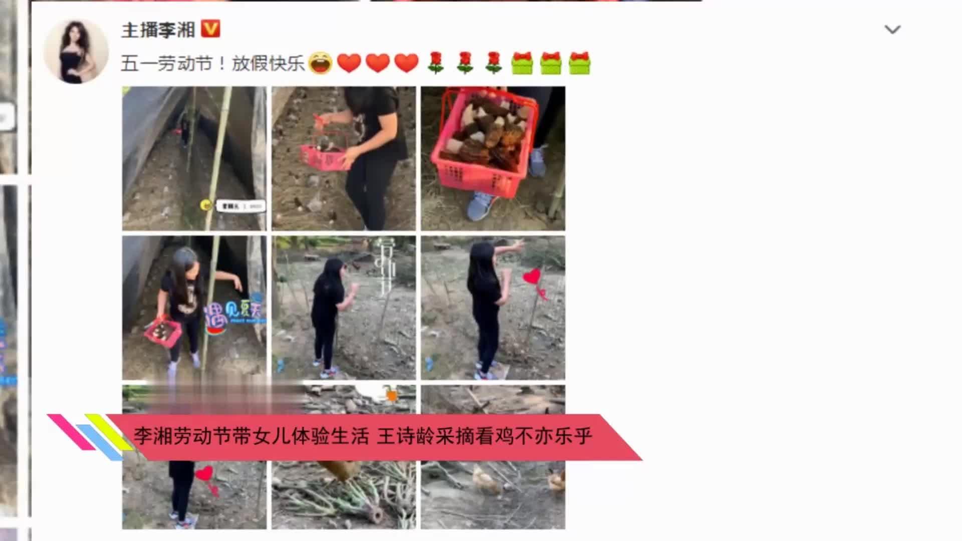 李湘劳动节带女儿体验生活王诗龄采摘看鸡不亦乐乎