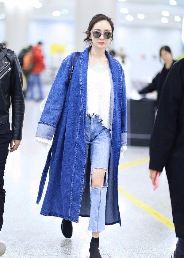 杨幂娜扎gigi示范,今年秋冬牛仔外套的时髦秘诀就是长!长!长!