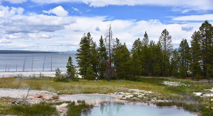 在黄石公园如此浓郁的色彩之下,西拇指湖绝对是最小清新的地方