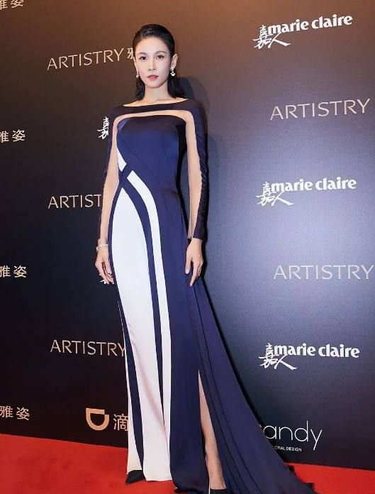张蓝心穿礼服长裙照片,图1潇洒,图3优雅知性