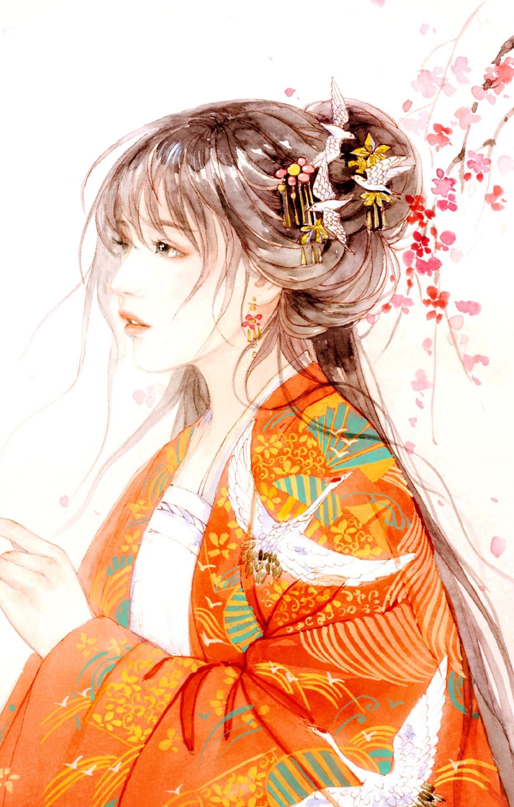 古风手绘女生美腻壁纸,我似秋叶,承载几许,荏苒华梦歇