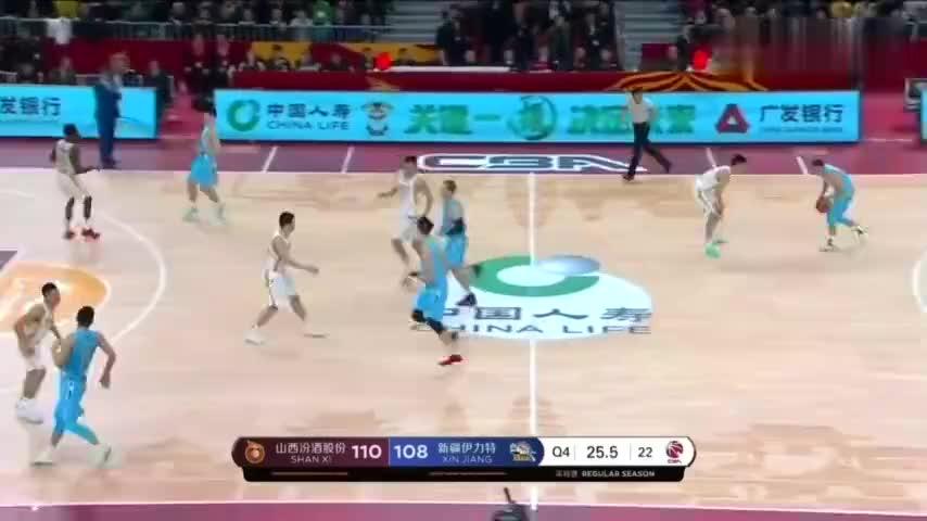 阿不都沙拉木冷血3分帮助新疆队反超比分