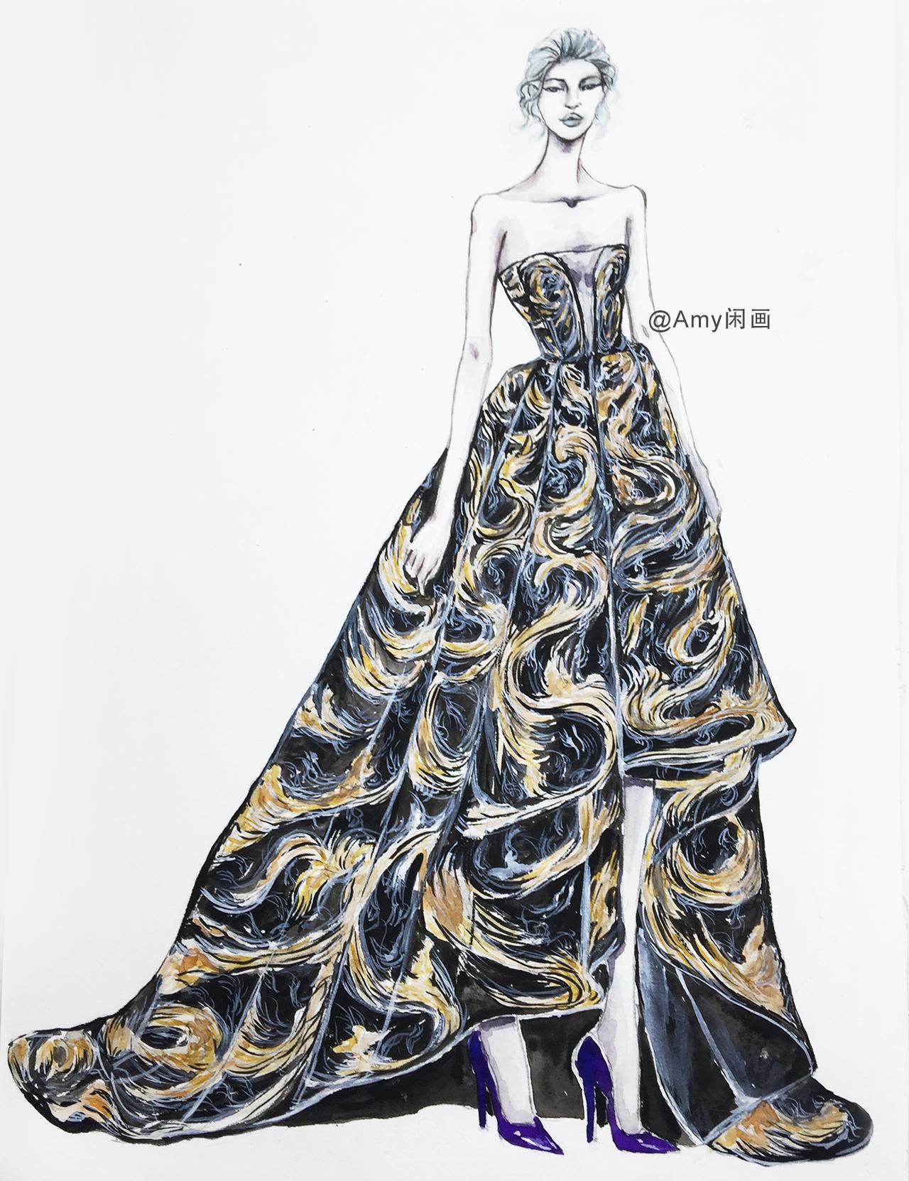 服装设计水彩手绘 57 低胸云纹刺绣不规则拖地长裙