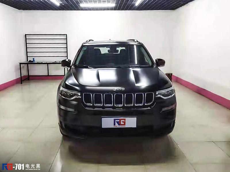 Jeep指挥官车身改色电光黑 RG瑞集改色膜山东淄博加盟店出品