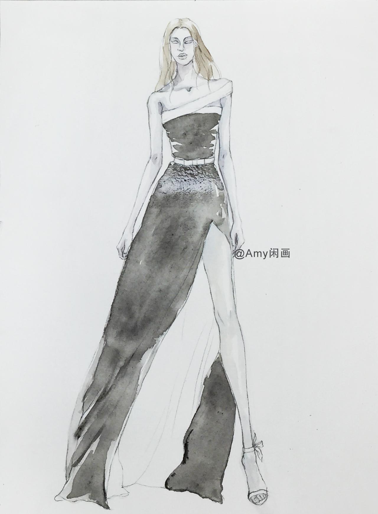 服装设计水彩手绘 56 红黑两色斜肩绸缎开叉长裙手绘图解
