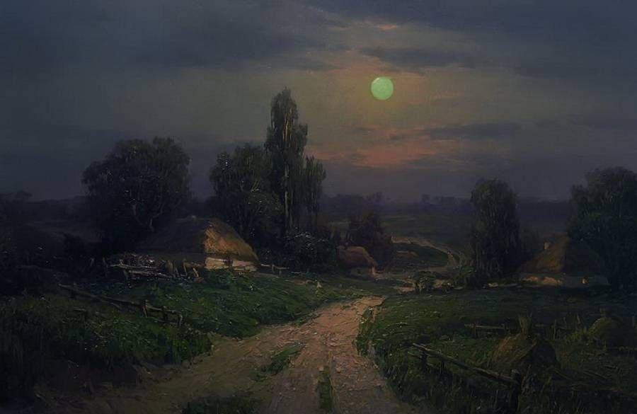 插画:艺术家Yuri Pryadko的乡村风景画