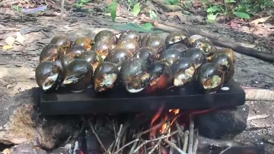 大叔野外蒜蓉烤福寿螺,好吃到连汁都不剩,流口水了