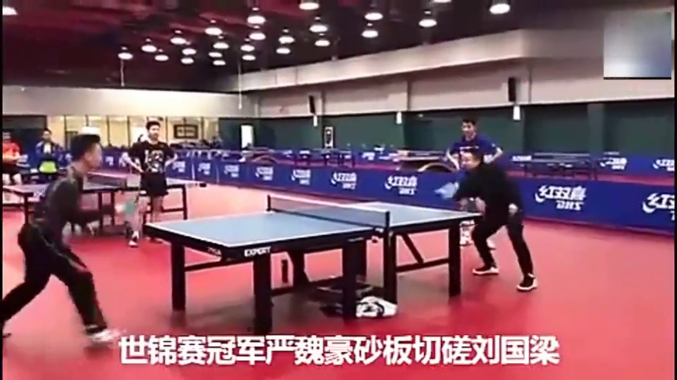 刘国梁与冠军pk丢一球,科科一旁疯狂嘲笑!刘国梁一回头科科秒怂