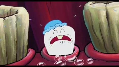 小海绵给派大星看乳牙纪念册,派大星勇敢的去拔牙齿了!