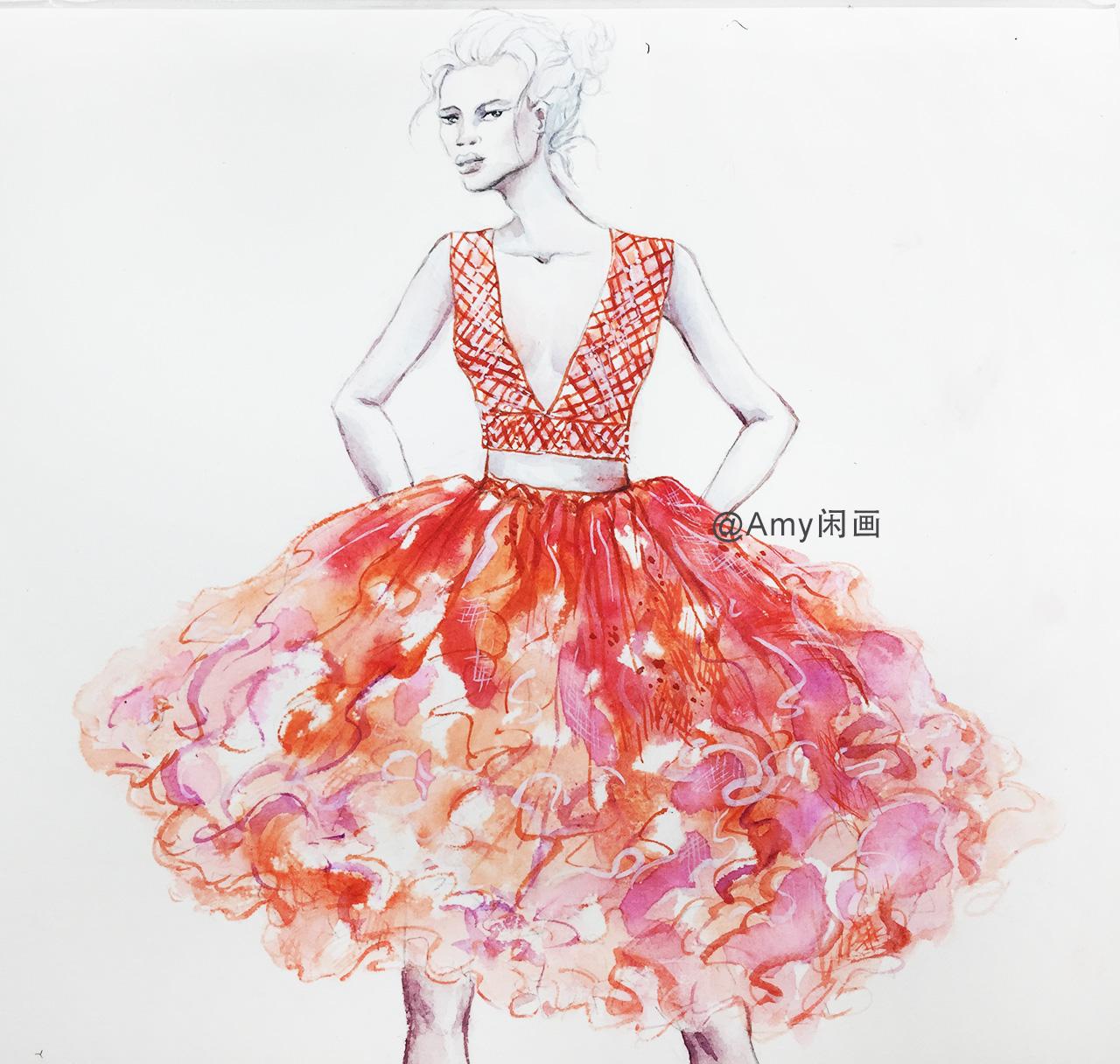 服装设计第53期  菱形V领小亮片背心多层短裙