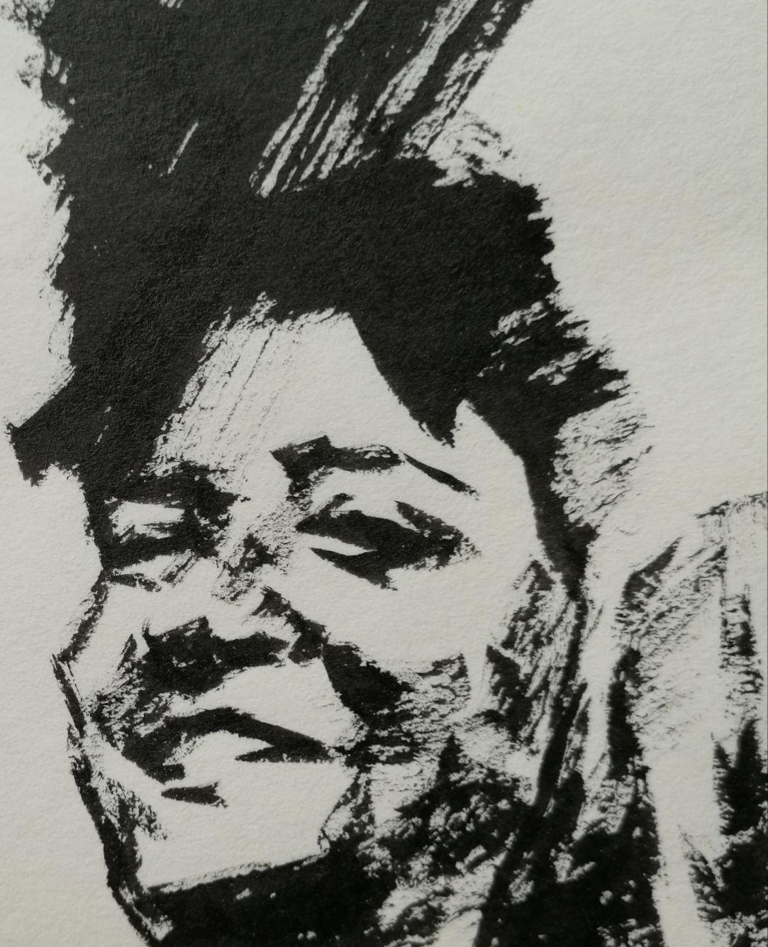 人物速写:不打形,直接画,一组用毛笔画的人物头像速写