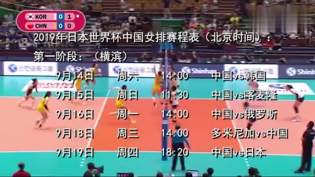 收藏中国女排世界杯赛程首战就是老冤家金软景