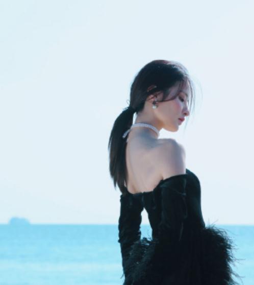 赖雨濛穿一身黑纱羽毛礼服,也太吸引人了,尽显优雅大方的气质