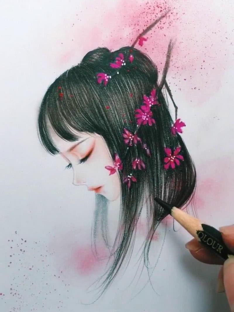 美術生手繪古風美人,畫上海棠花后,網友:天上掉下個林妹妹?