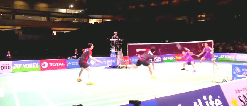 2015年日本公开赛张楠付海峰VS李龙大柳延星后视角感受杀球威力