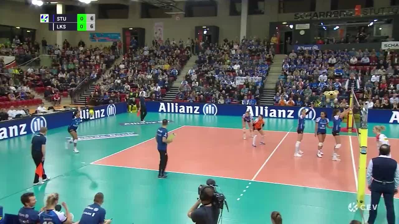 2月5日 德国斯图加特女排战胜波兰罗兹女排集锦 2020欧冠女排