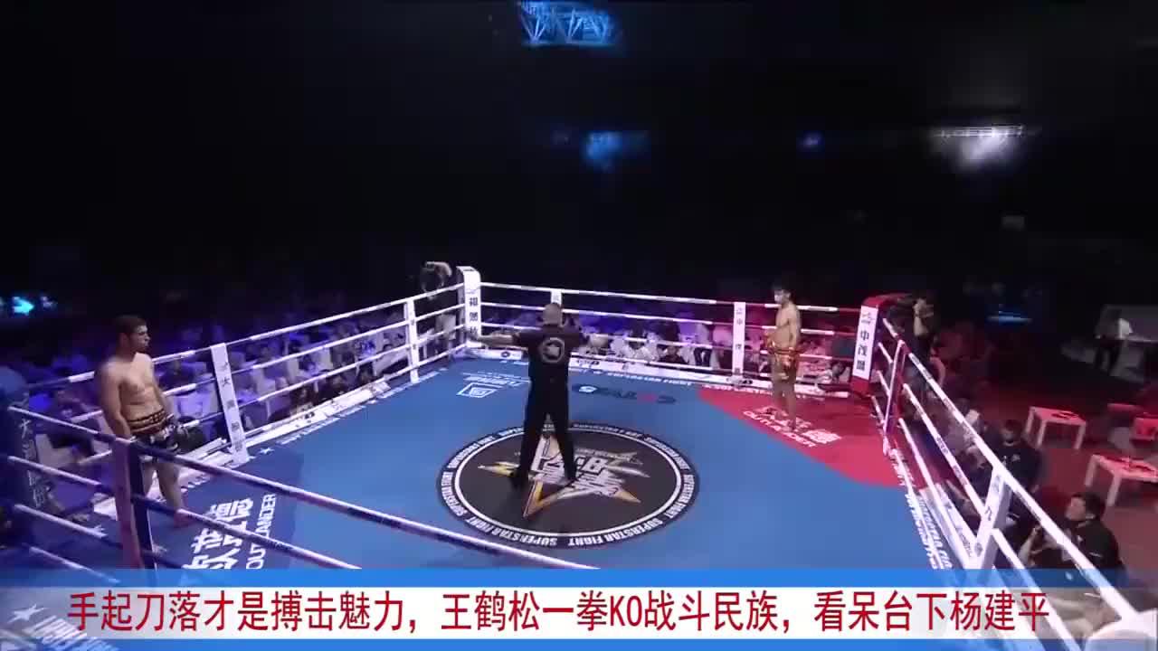 手起刀落才是搏击魅力,王鹤松一拳KO战斗民族,看呆台下杨建平