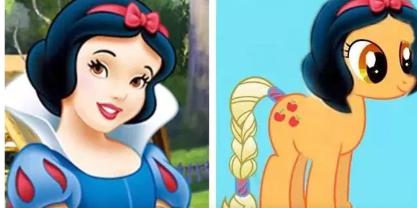 假如迪士尼公主变成小马宝莉,贝儿依旧爱学习,而茉莉比艾莎还美