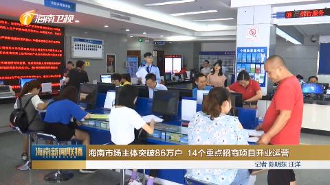 海南市场主体突破86万户 14个重点招商项目开业运营