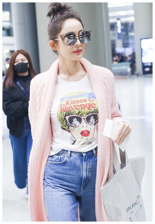 古力娜扎身穿粉红外套现身机场 网友:天生丽质的姑娘真美