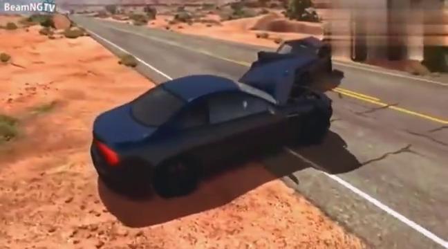 视频:BeamNG:奥迪A6开足马力超车冲撞小轿车,拟真车祸模拟。