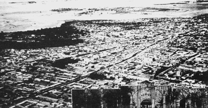 民国老照片:日伪时期的齐齐哈尔市,看看那时的印钞厂和嫩江河畔