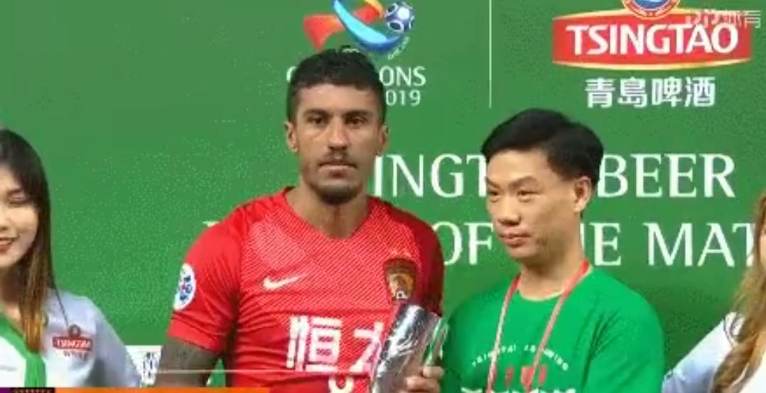 保利尼奥当选为亚冠第6轮广州恒大与大邱FC比赛的最佳球员