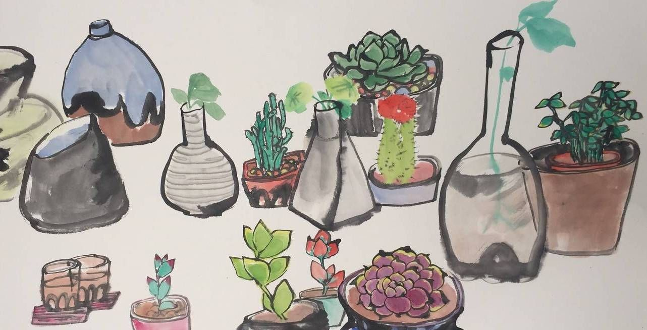 关于多肉绿植的国画作品由湖南师范大学美术学院毕业研究生创作