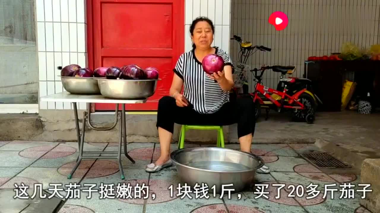 妈妈秘制茄子干,不锈钢大盆一次20斤,存储起来冬天炖肉吃