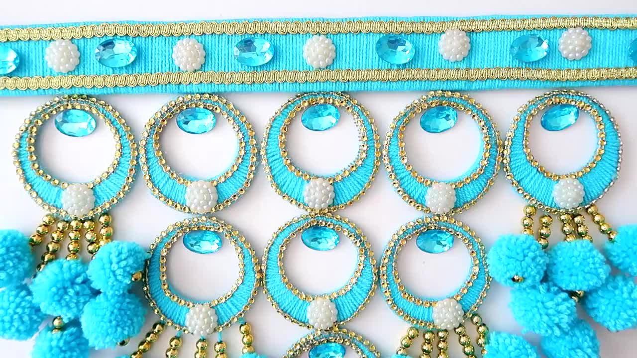 当圆环圈和毛线串珠相遇变成有趣的墙挂装饰