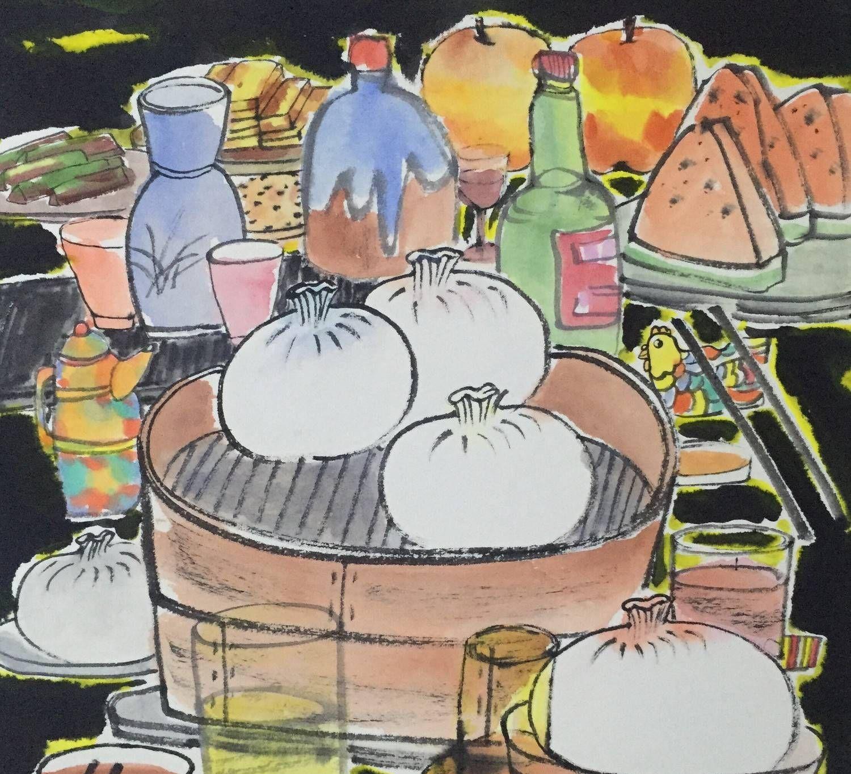 关于食物的国画作品由湖南师范大学美术学院毕业研究生李荣创作