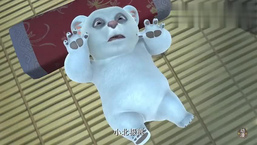 光头强抱着北极熊宝宝亲昵强哥以后一定会是个好爸爸