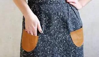 旧裙子改造——一款牛仔风格皮革口袋一步裙简单教程