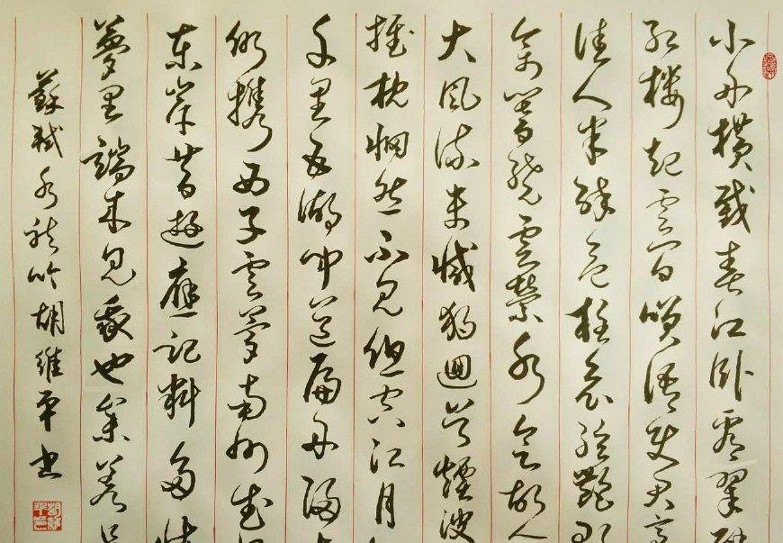 胡维平草书作品 苏轼《水龙吟 小舟横截春江》