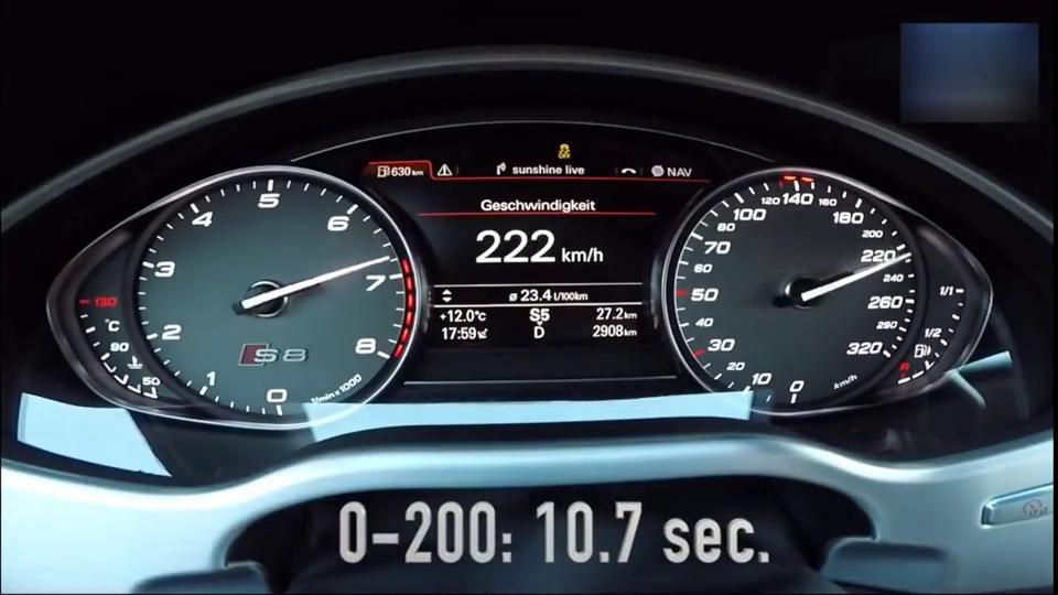 看看奥迪S8'0-300公里加速试验,这300公里就像玩一样!