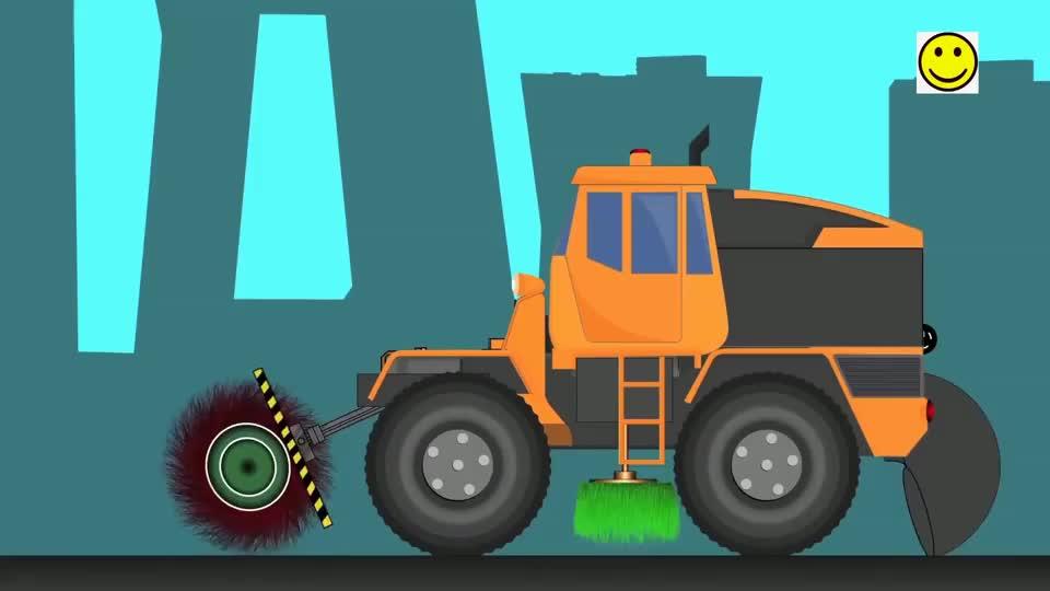 工程车修建城市道路并清理垃圾