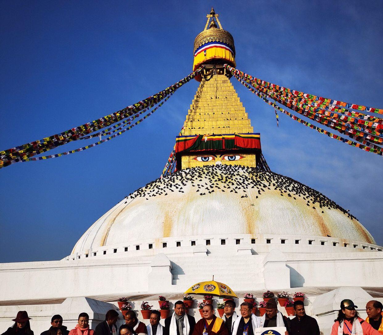 法王、国王共同率团赴佛陀故乡尼泊尔~走进博达哈大佛塔
