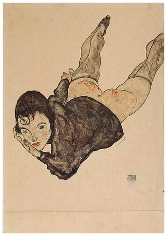 180万欧元的绘画作品 埃贡 席勒《斜躺的女人》