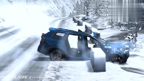BeamNG:平板货车开足马力压过减速带冲向一堆汽车,拟真车祸