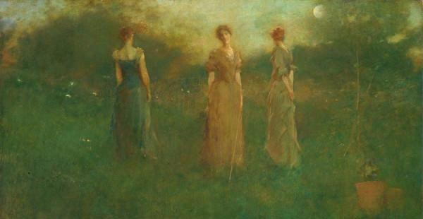 美国印象派画家,托马斯结露Thomas Dewing,绘画作品欣赏