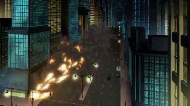 反派到处放炸弹,正义联盟到处飞,超人顶着崩塌的大厦