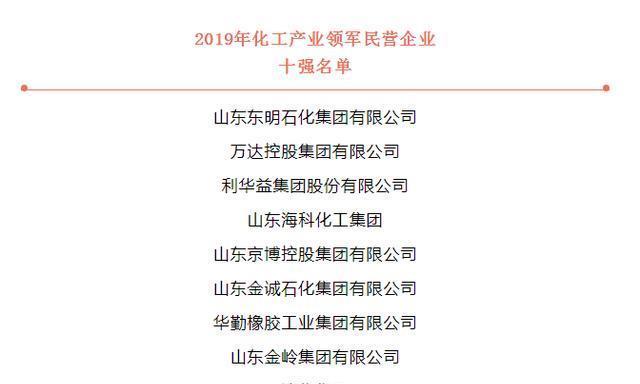2019年山东民企百强名单发布(附化工、新材料企业前十名单)