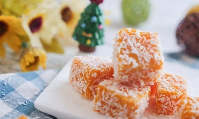 在家自制椰蓉南瓜小方,椰蓉和南瓜的融合,让你一口一个香甜
